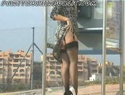 My Slut Wife In Black Stockings Flashes At The Public Phone Box