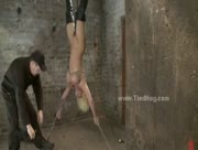 Blonde Sex Slave Huge FakeTits Tied Upside Down