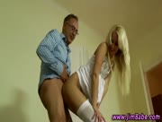 Teen blonde takes old guys dick