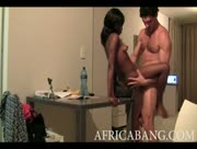 Horny bitch from Africa fucked in her first porn video