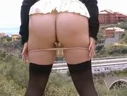 Housewife In Stockings And Pantyhose Flashing At Side Of A Busy Road