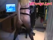 Milf Secretary In Seamless Pantyhose Fingers Her Pussy And Plays With her Big Tits