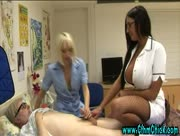 Cfnm nurse with big tits shares cock