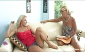 Hot MILF fingers her blonde daughter's pussy