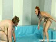 Skinny Redhead Girl Destroyed By BBW