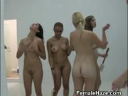 College Girls Hazed Together In Shower