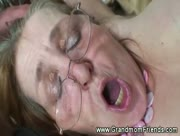 Grannies facial from two guys