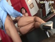 MILF Whore Fucked On A Table