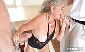 Sexy Grandma Takes On 3 Hard Studs At Once