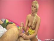 Blonde Teen Prostitute Jerking Hard Cock